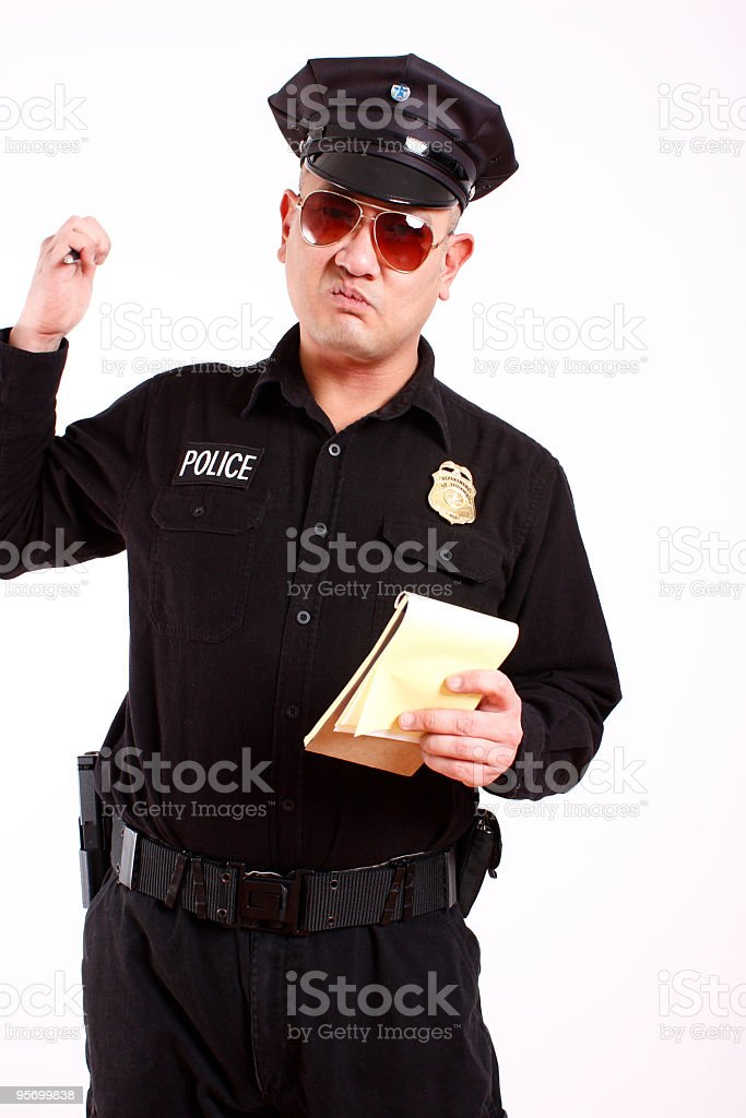 police officer about to write a citation royalty-free stock photo