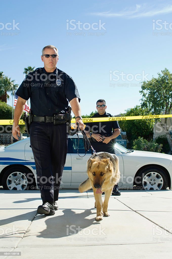 Police Officer and Dog stock photo