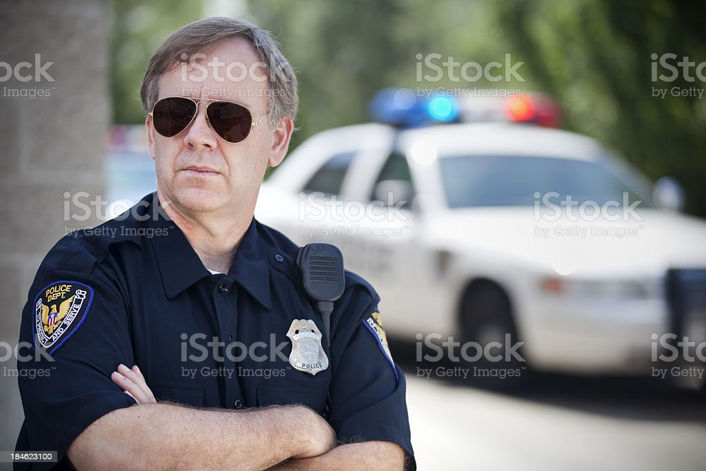 Police Officer and Squad Car stock photo