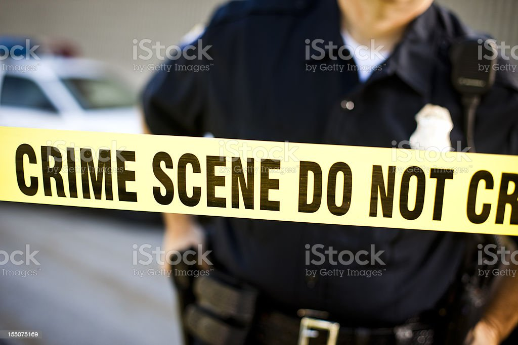 Police Officer at crime scene royalty-free stock photo