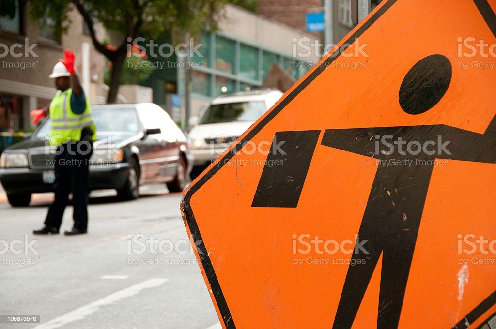 Police officer directing traffic stock photo