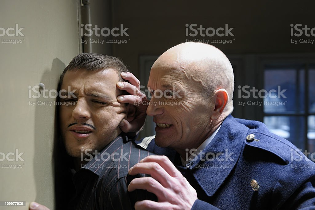 police officer interrogation arrested criminal XXXL image stock photo