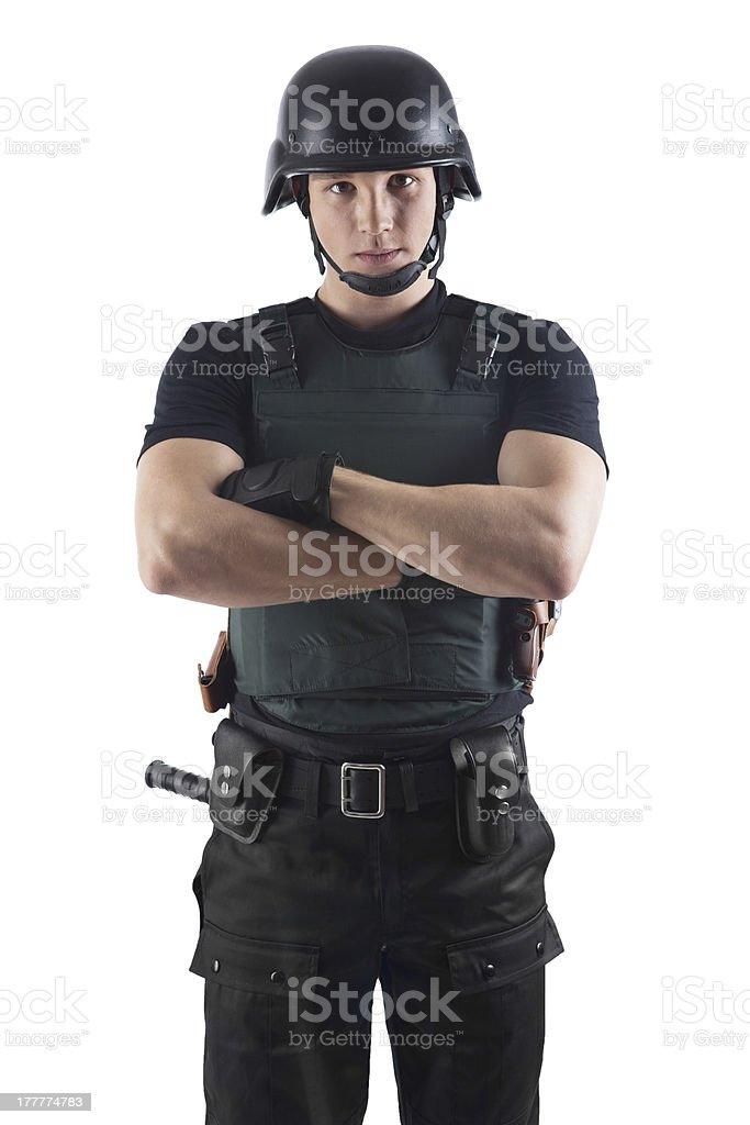 Police officer is looking on you. stock photo