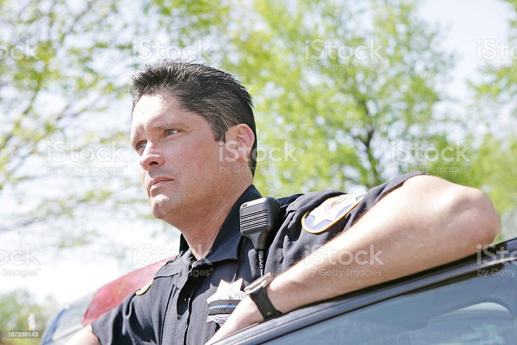 Police Officer Looking Away royalty-free stock photo
