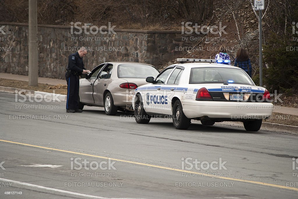 Police Officer on a Traffic Stop stock photo