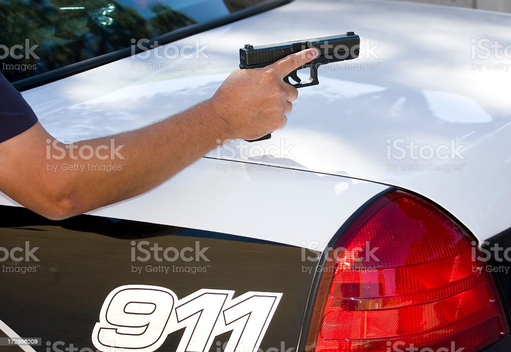 Police Officer on Perimeter stock photo