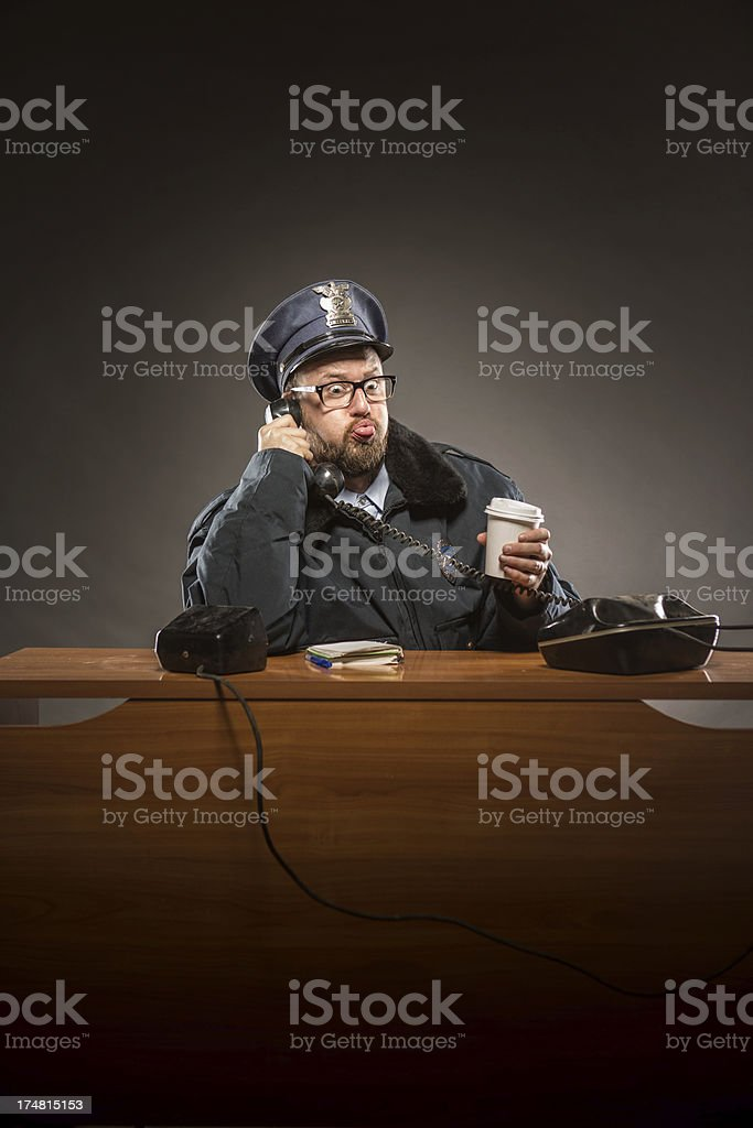 Police Officer on the Phone royalty-free stock photo