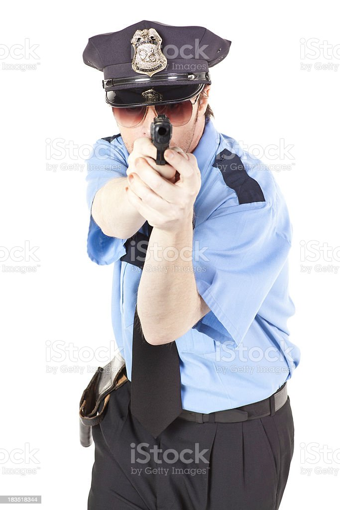 Police Officer Pointing His Gun Forward royalty-free stock photo