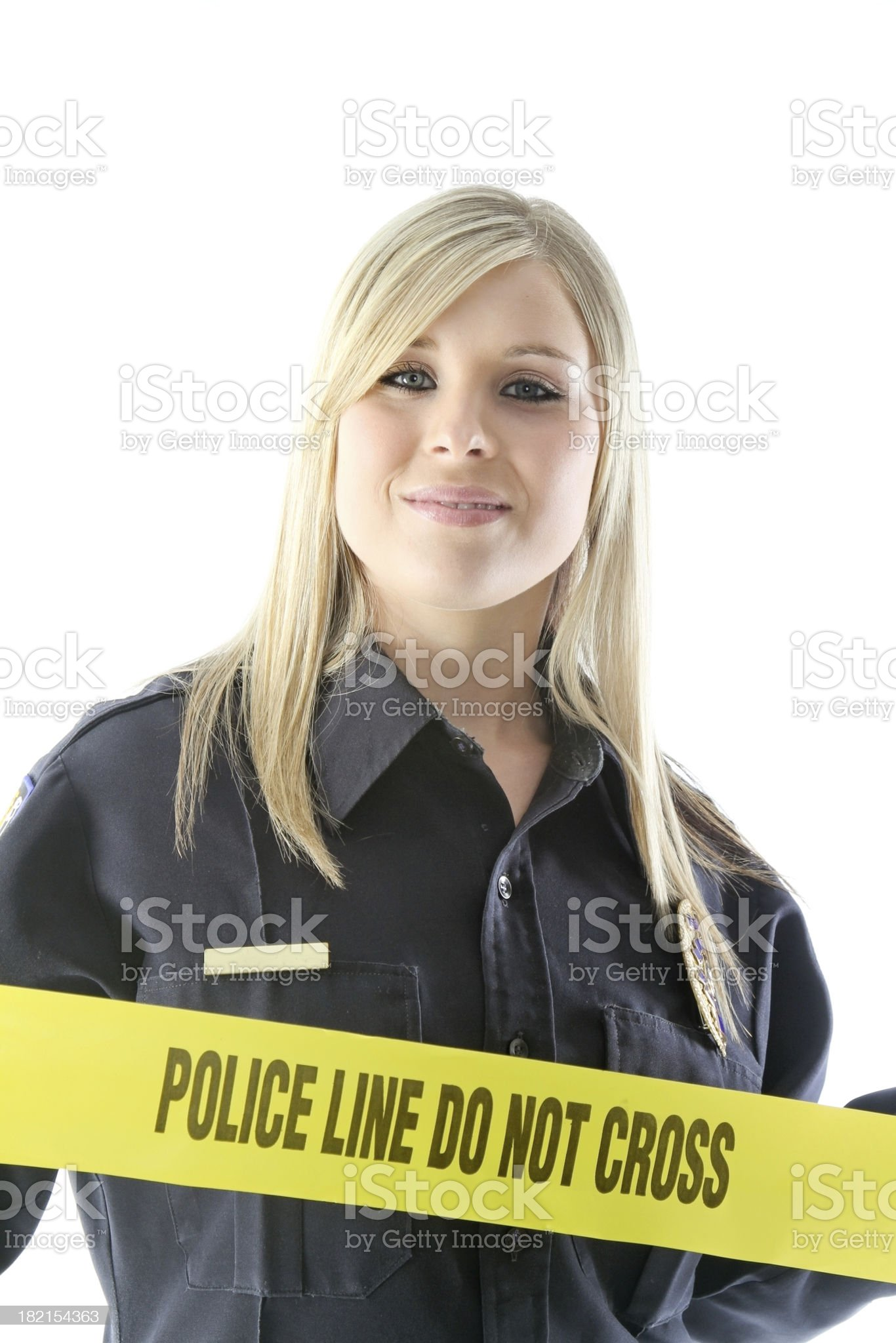 Police Officer with Evidence tape royalty-free stock photo