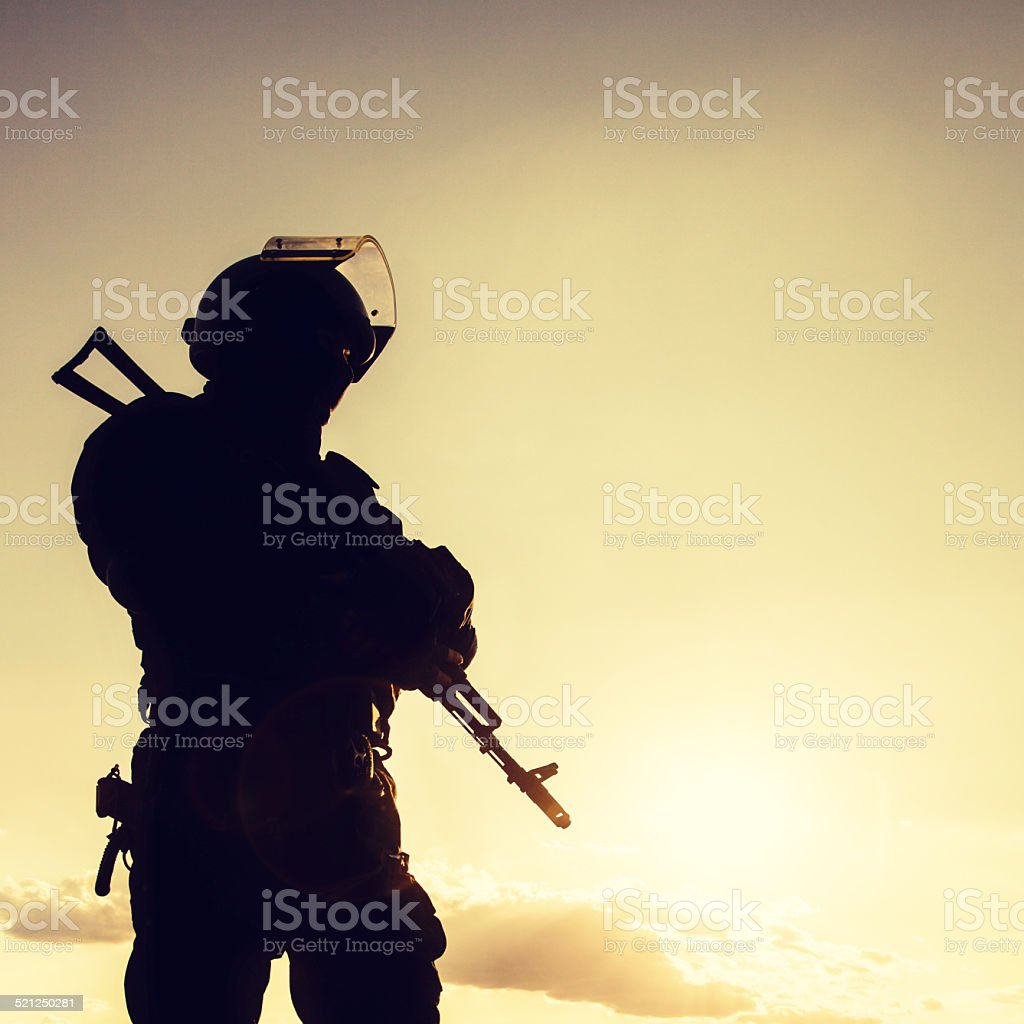 police officer with weapons stock photo