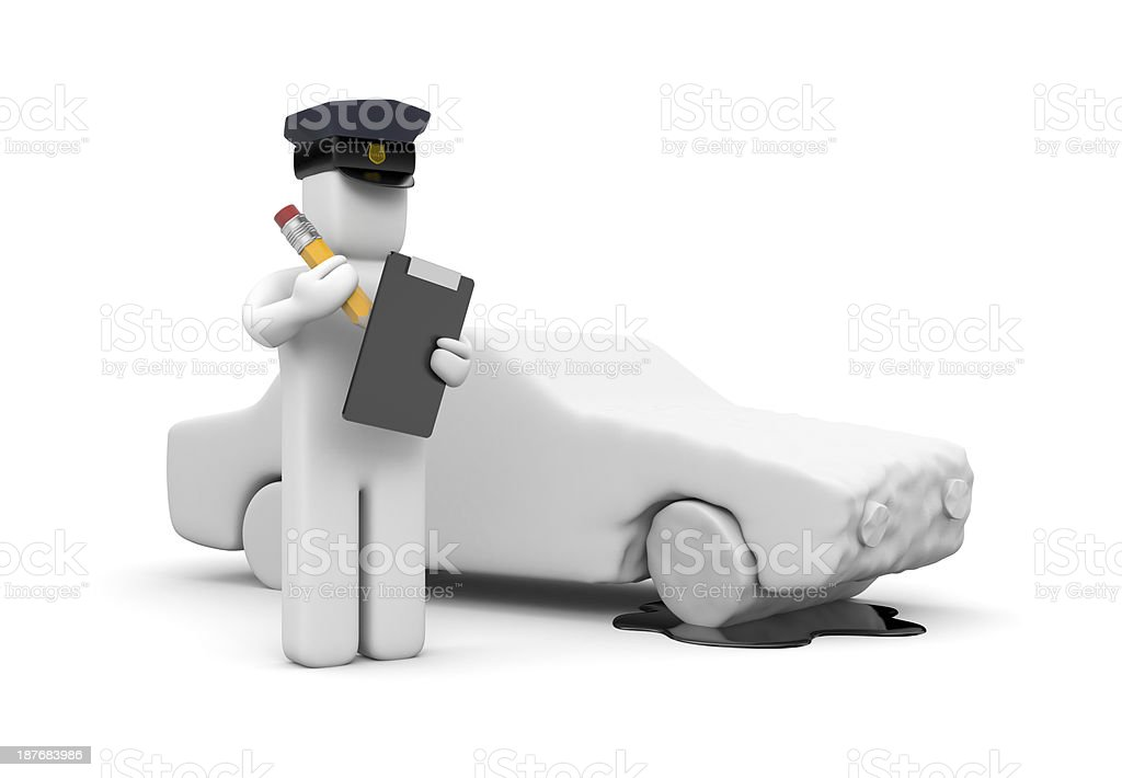 Police officer writing a vehicle accident stock photo