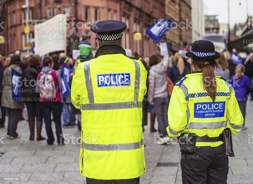 Police Officers at a peaceful demonstration stock photo