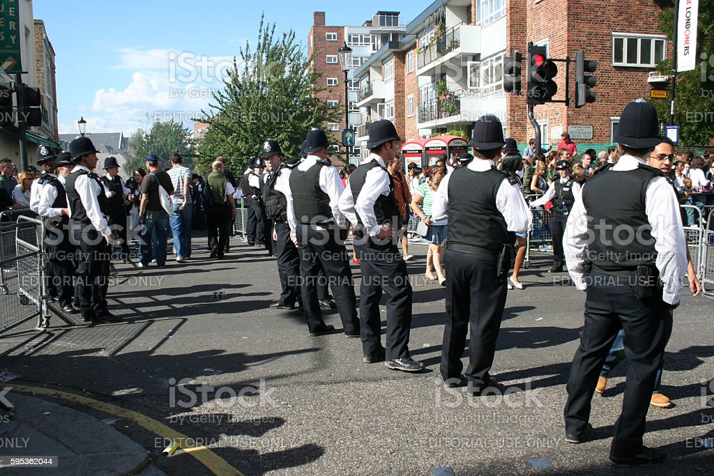 Police officers at Notting Hill Carnival stock photo