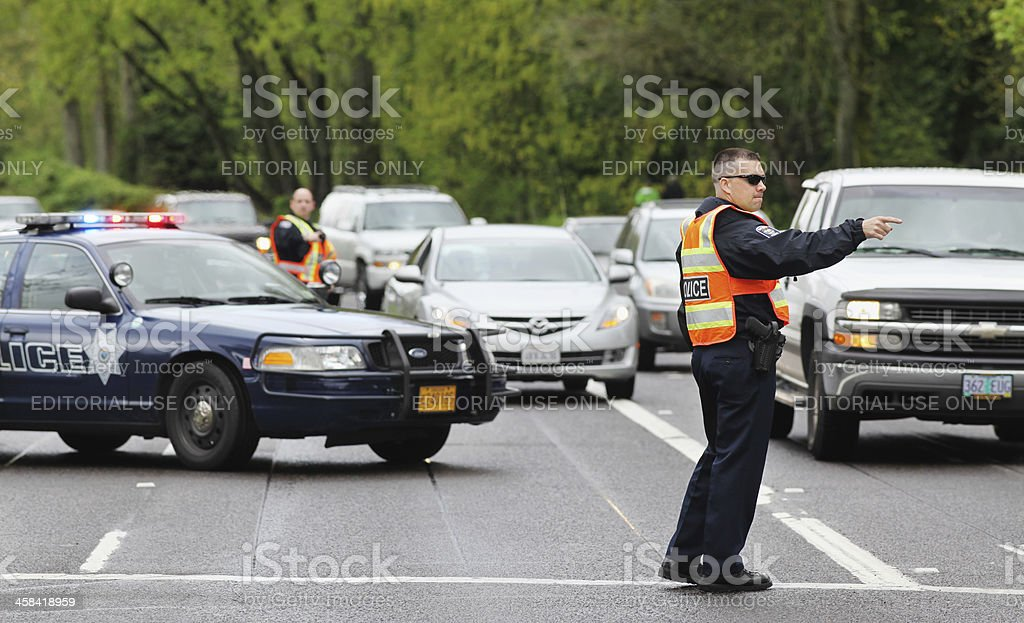 Police Officers Directing Traffic stock photo