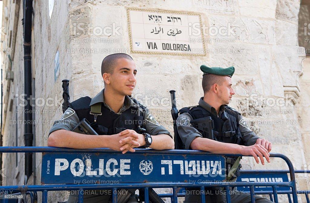 Police officers in Jerusalem stock photo