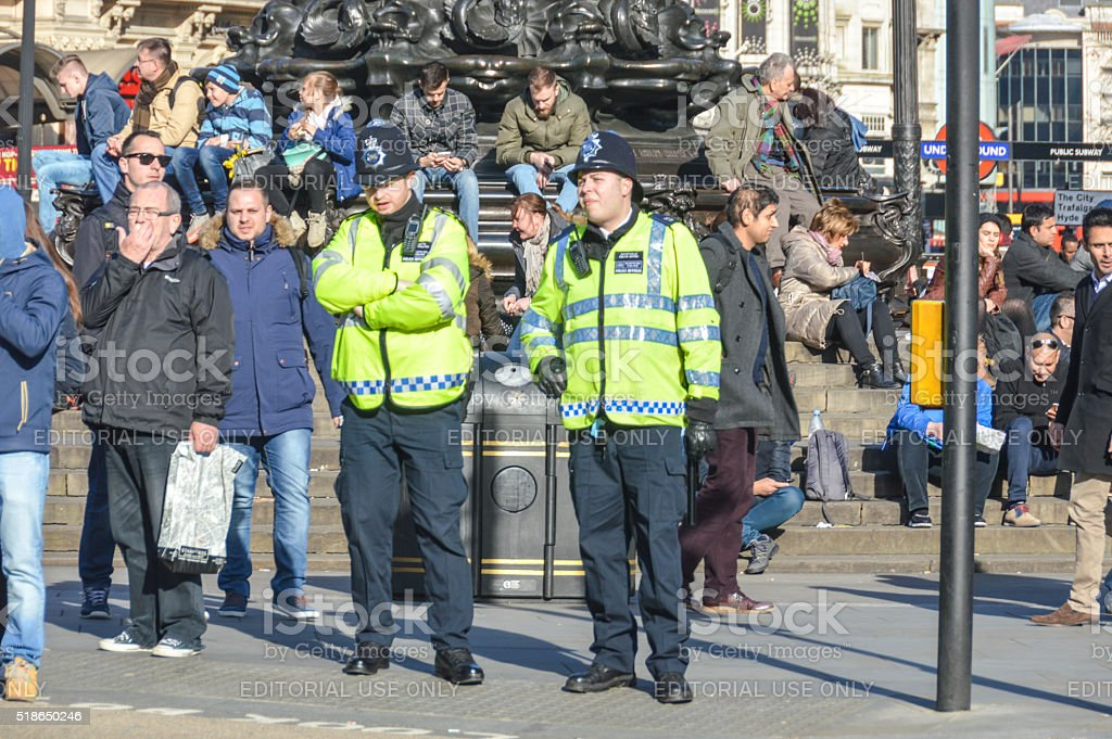 Police officers in London stock photo