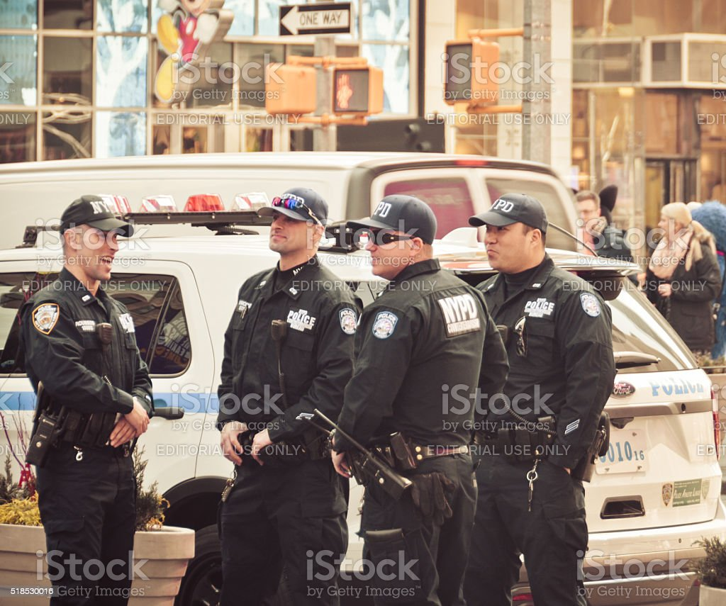 Police officers on patrol in New York City stock photo