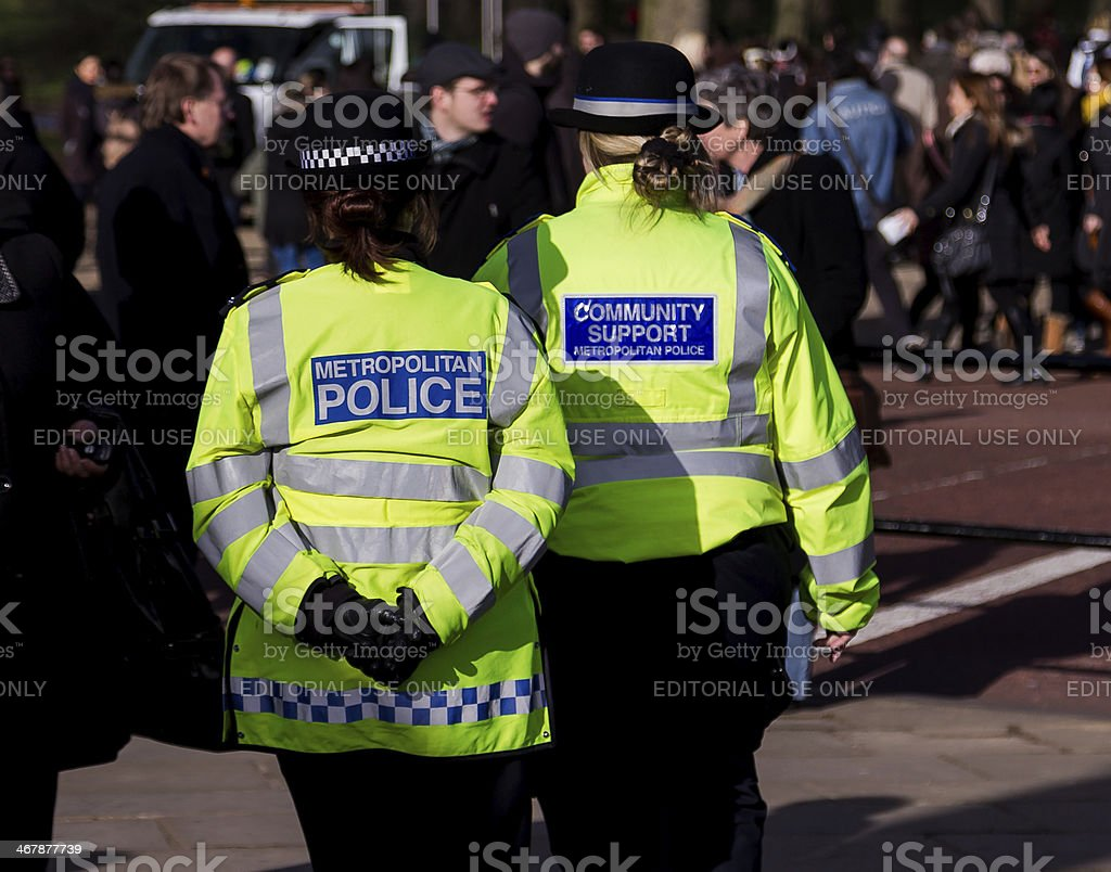 Police Officers on the Streets of London stock photo