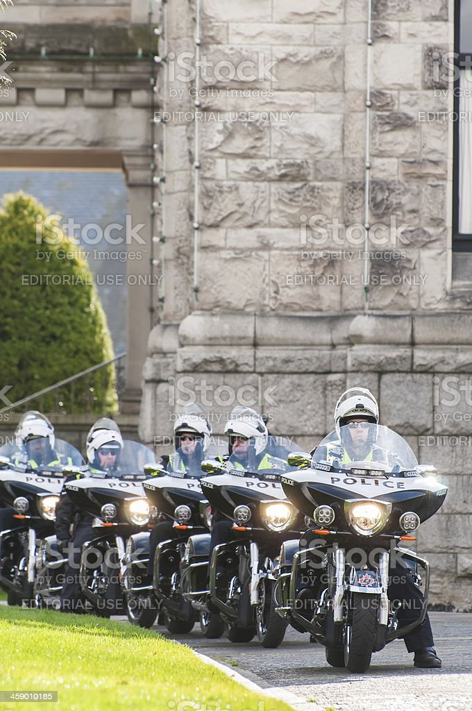 Police Officers Riding Motorcycles royalty-free stock photo