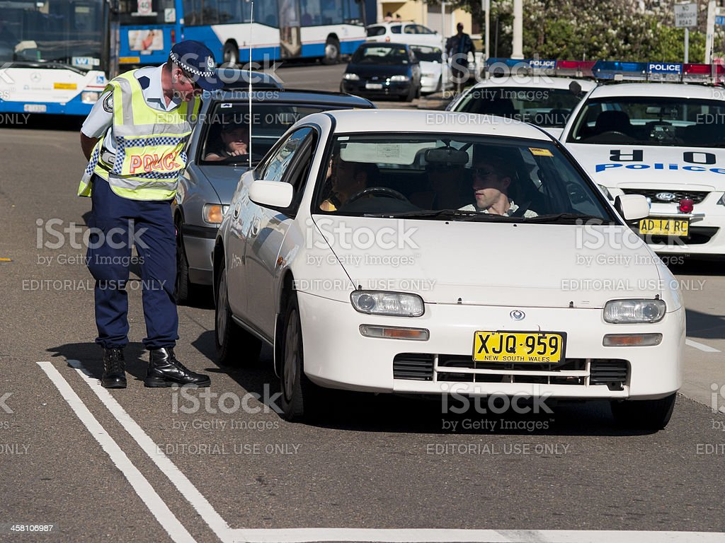 Police officers syop car Coogee, Sydney royalty-free stock photo