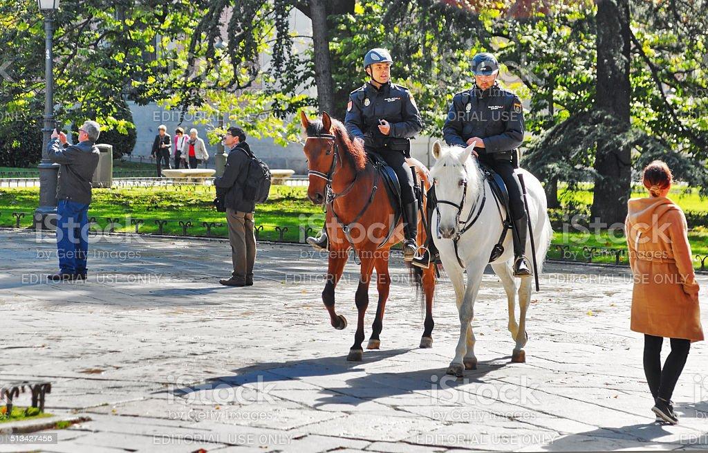 Police on horse near the  Prado National Museum stock photo