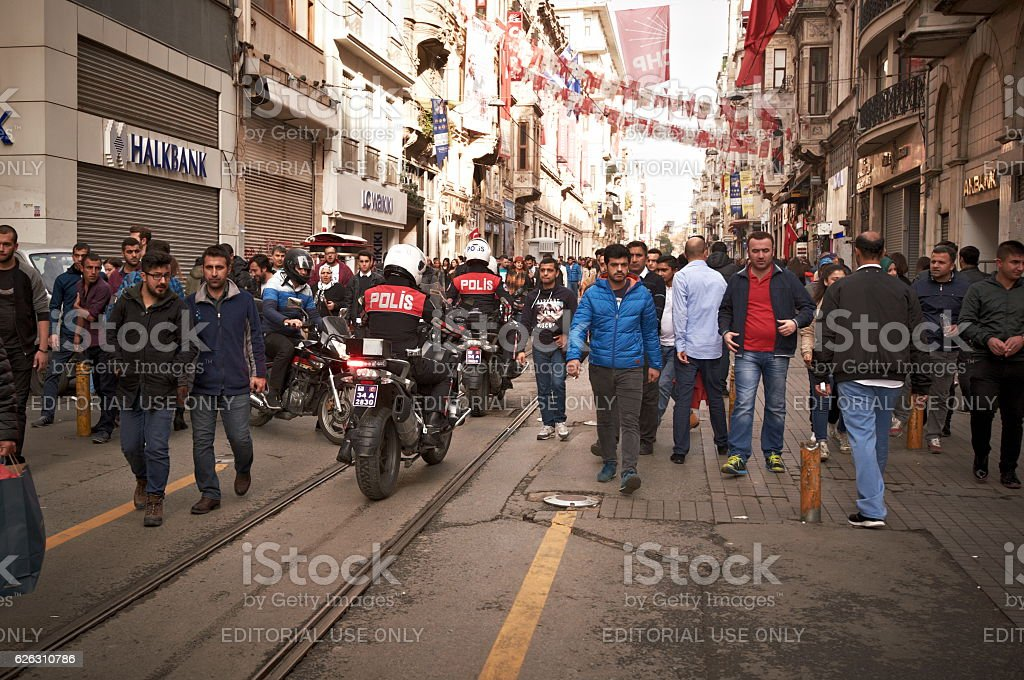 Police on Istiklal Avenue stock photo