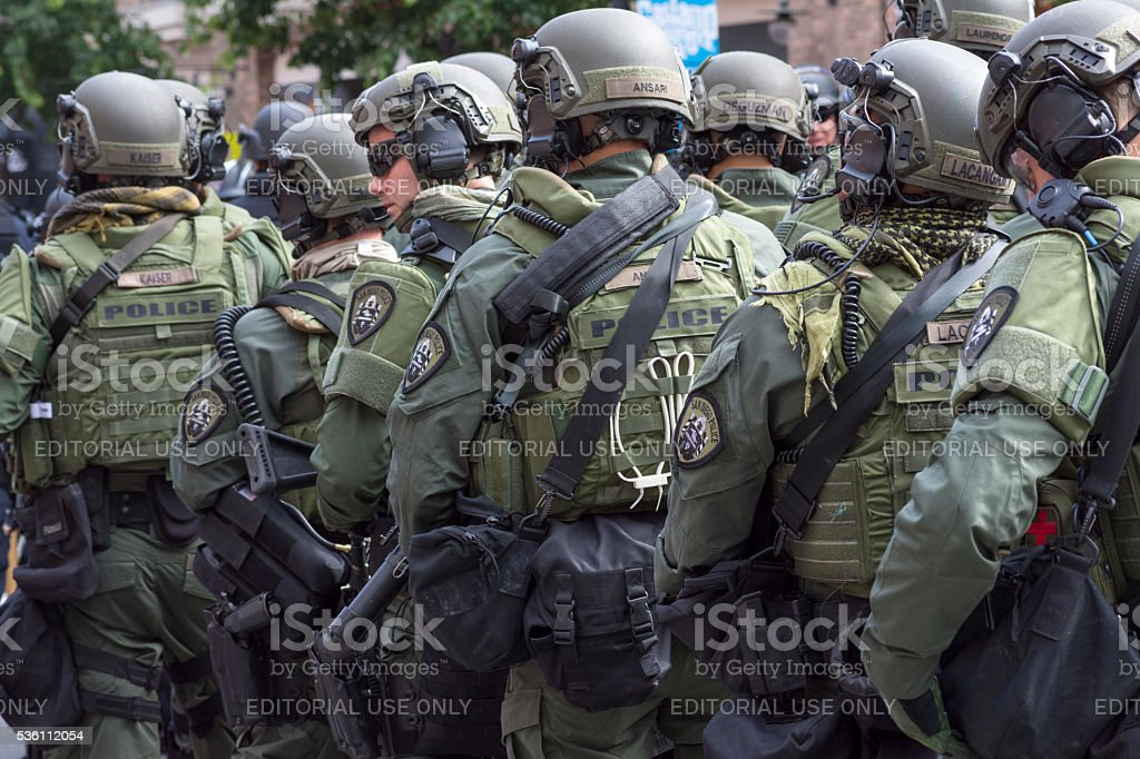 Police on standby for riot stock photo