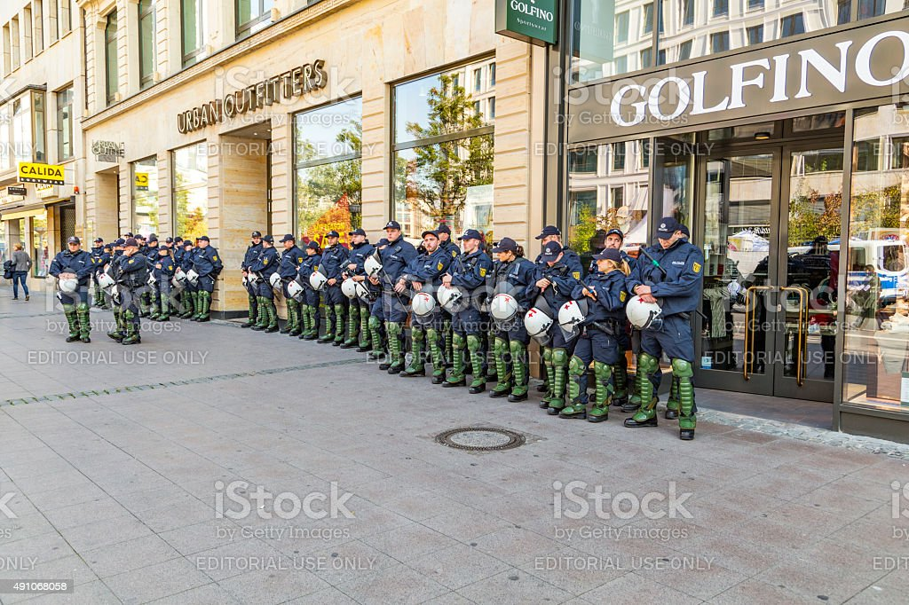 police on standby to assist anniversary of German Unity stock photo