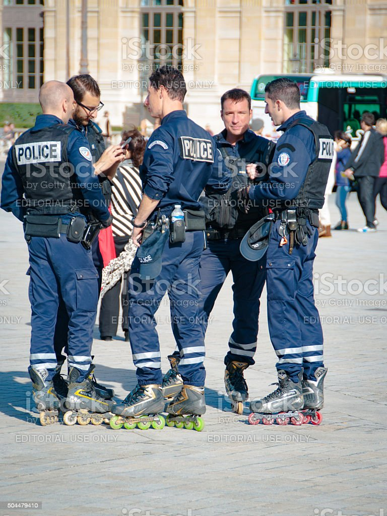 Police on the roller skates stock photo