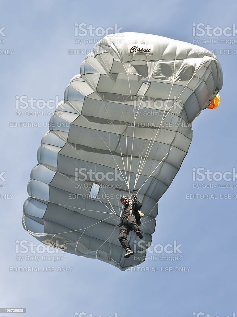 Police parachuter performing at Zagreb Air Show 2010 royalty-free stock photo
