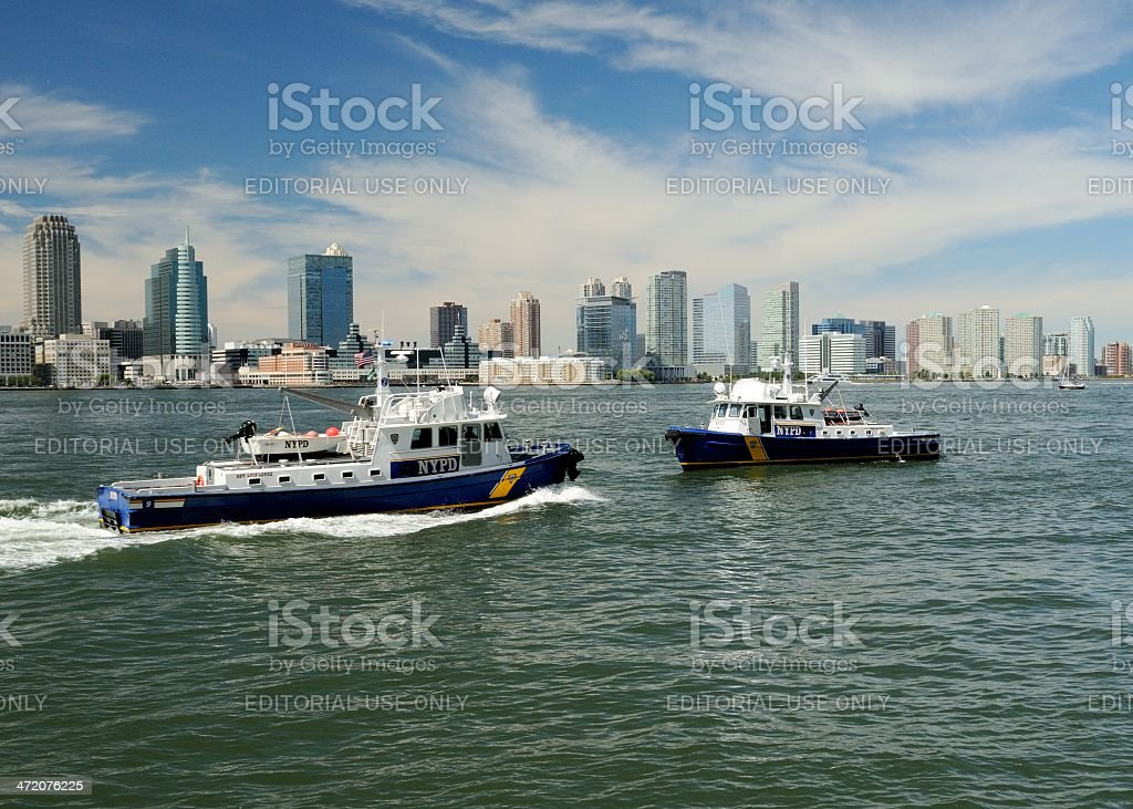 NYC Police patrol harborfront on 9/11 stock photo