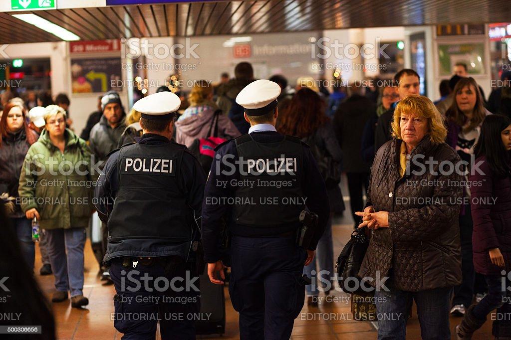 Police patrol in station Dortmund stock photo
