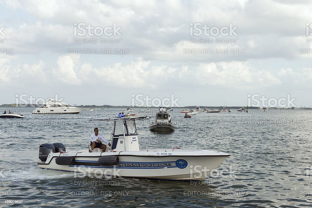 Police Patrol on the waters of Biscayne Bay stock photo