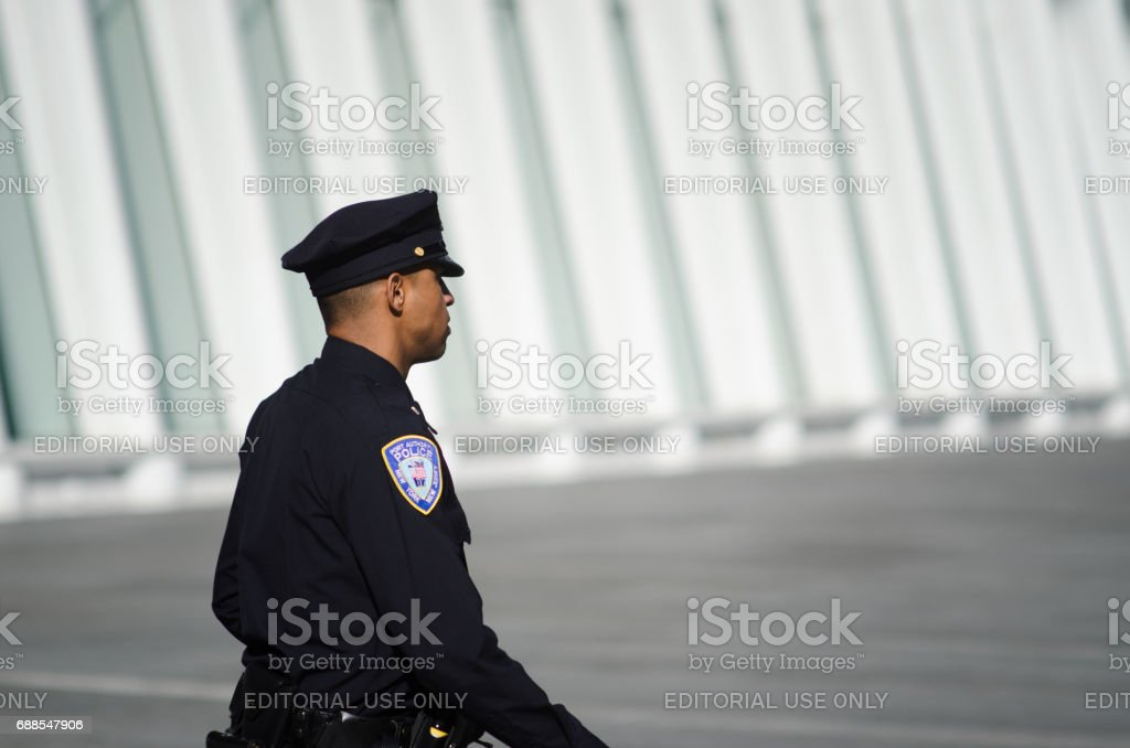 Police Patrolling the Oculus World Trade Center Transportation Hub NYC stock photo