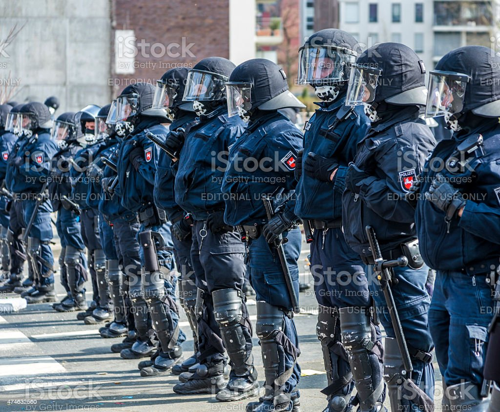 police pays attention at demonstration against EZB and Capitalis stock photo