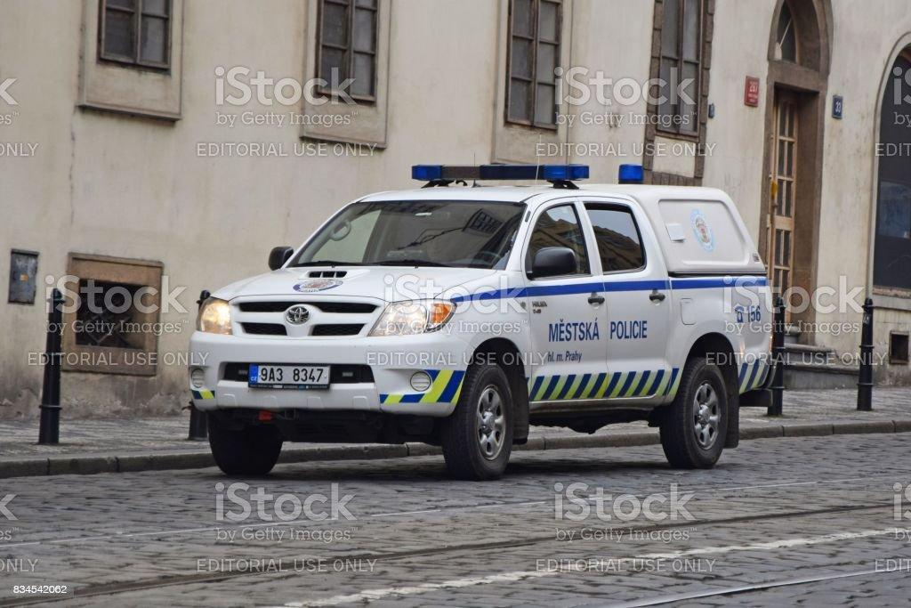 Police pick-up on the street in Prague stock photo