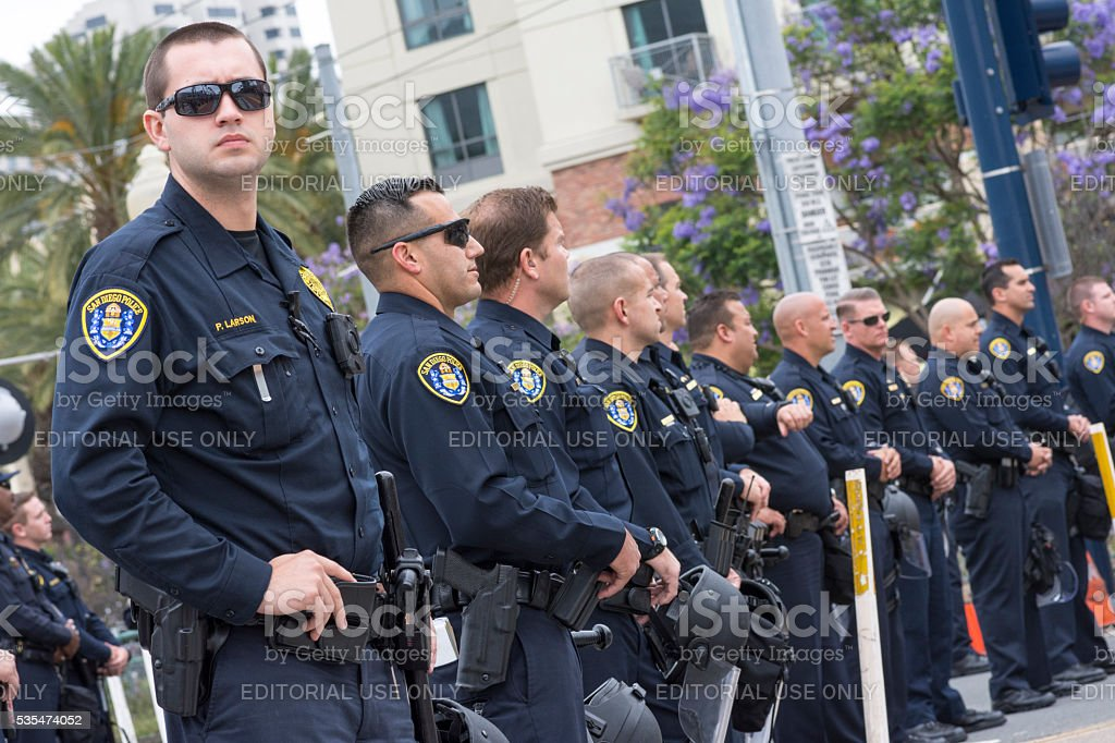Police presence at Trump rally stock photo