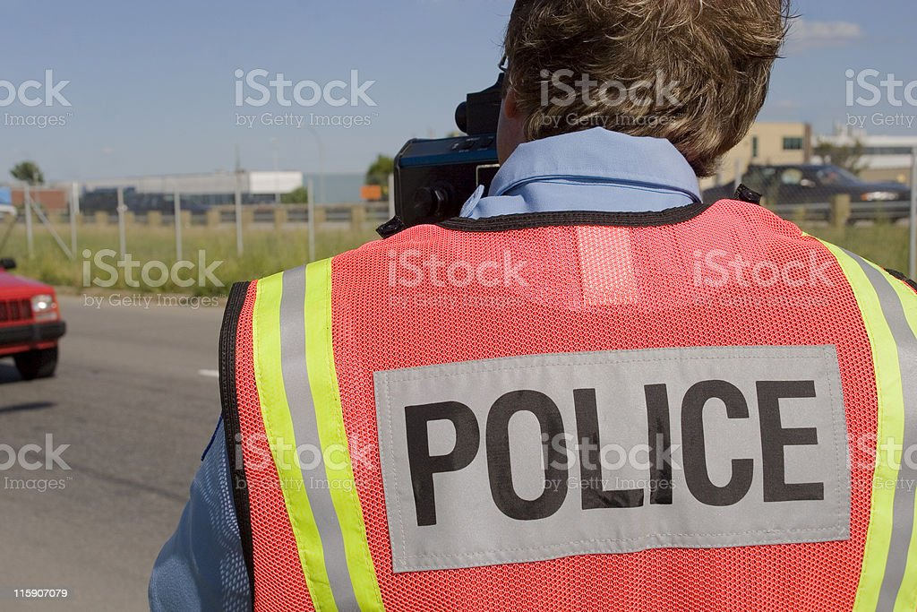 Police radar, speed trap stock photo