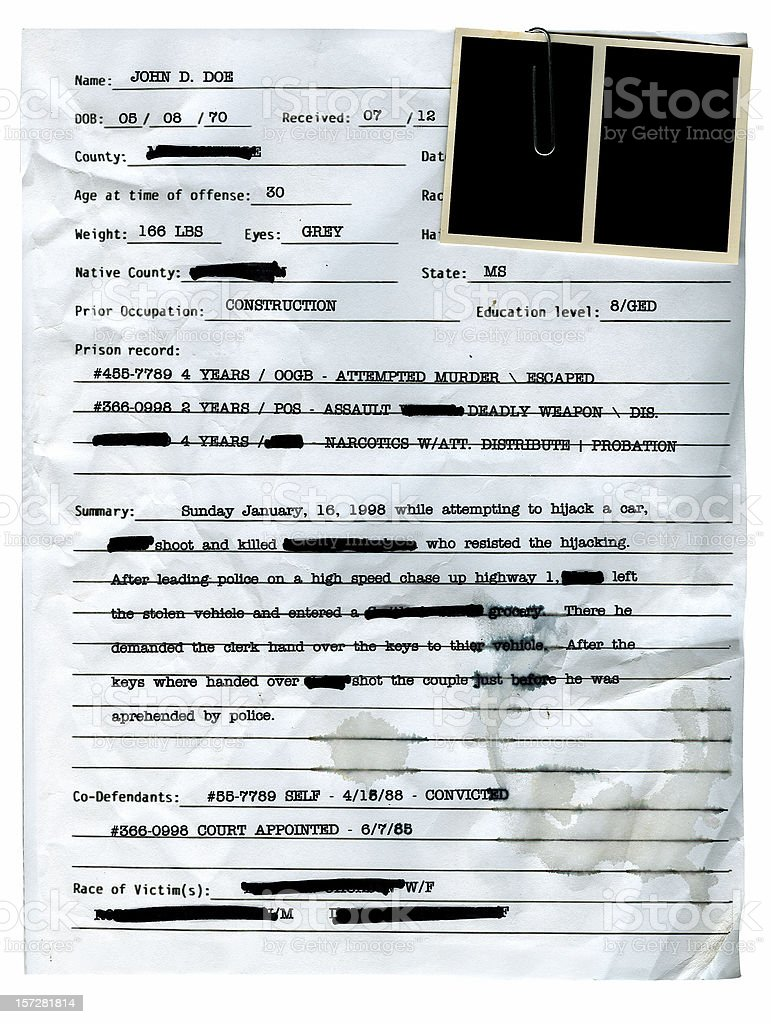 Police Record with Blank Mugshots royalty-free stock photo