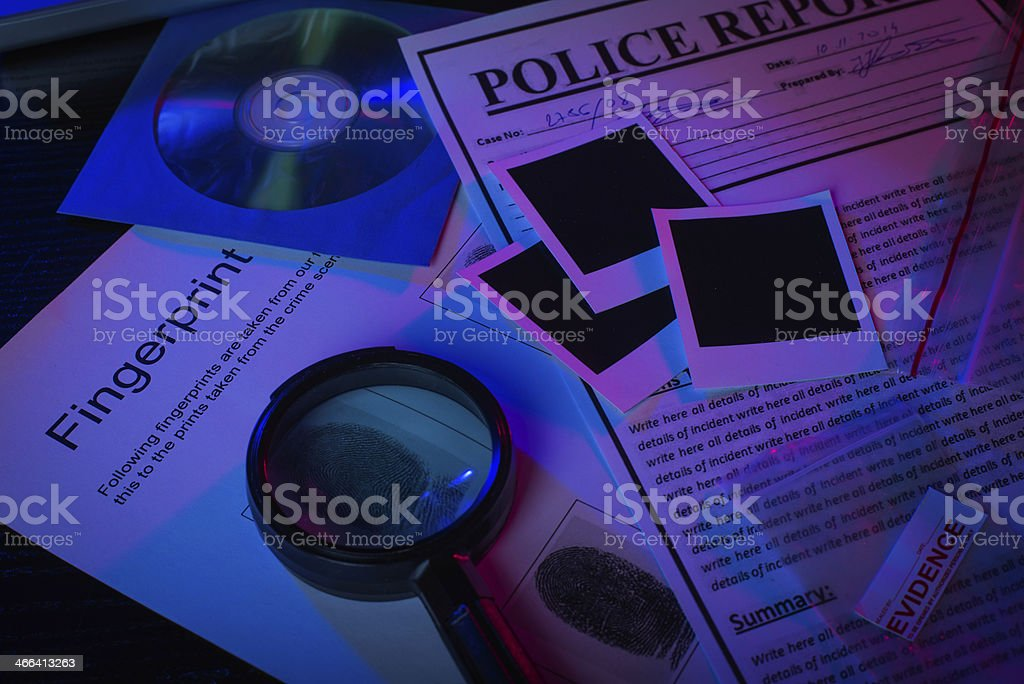 Police records of murder suspect stock photo