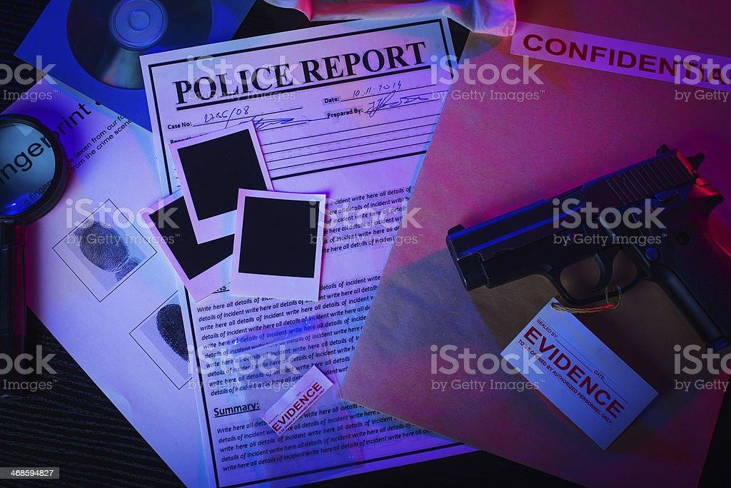 Police report documents stock photo