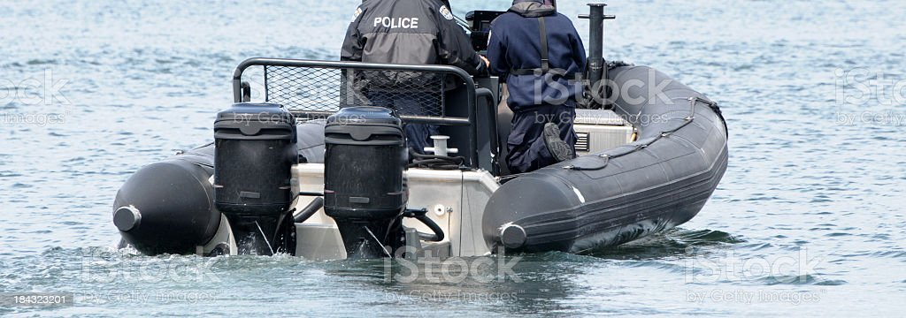 Police Rigid Hull Inflatable Patrol Boat royalty-free stock photo
