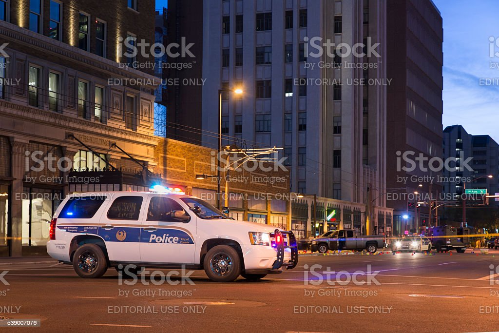 Police scene in Phoenix royalty-free stock photo