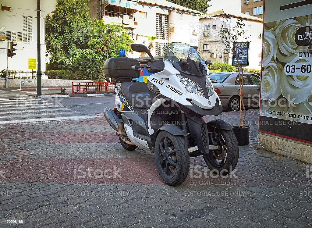 Police scooter Quadro 350 S3 in Israel stock photo