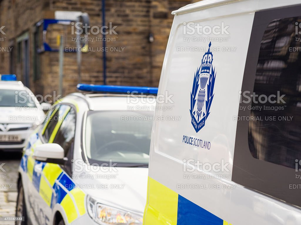 Police Scotland logo on van stock photo