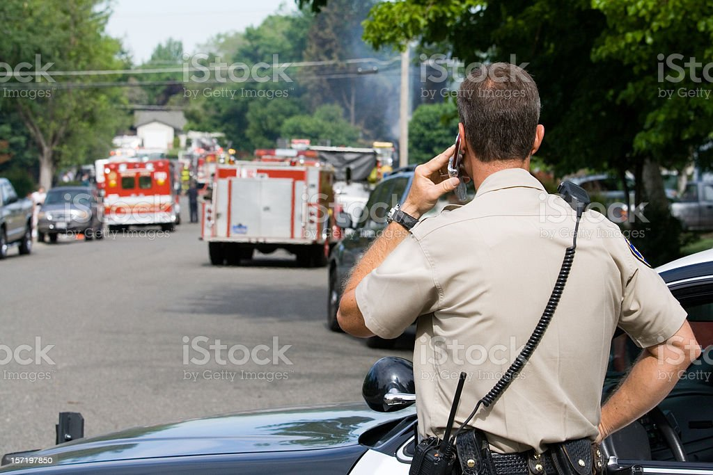 Police Securing Perimeter royalty-free stock photo