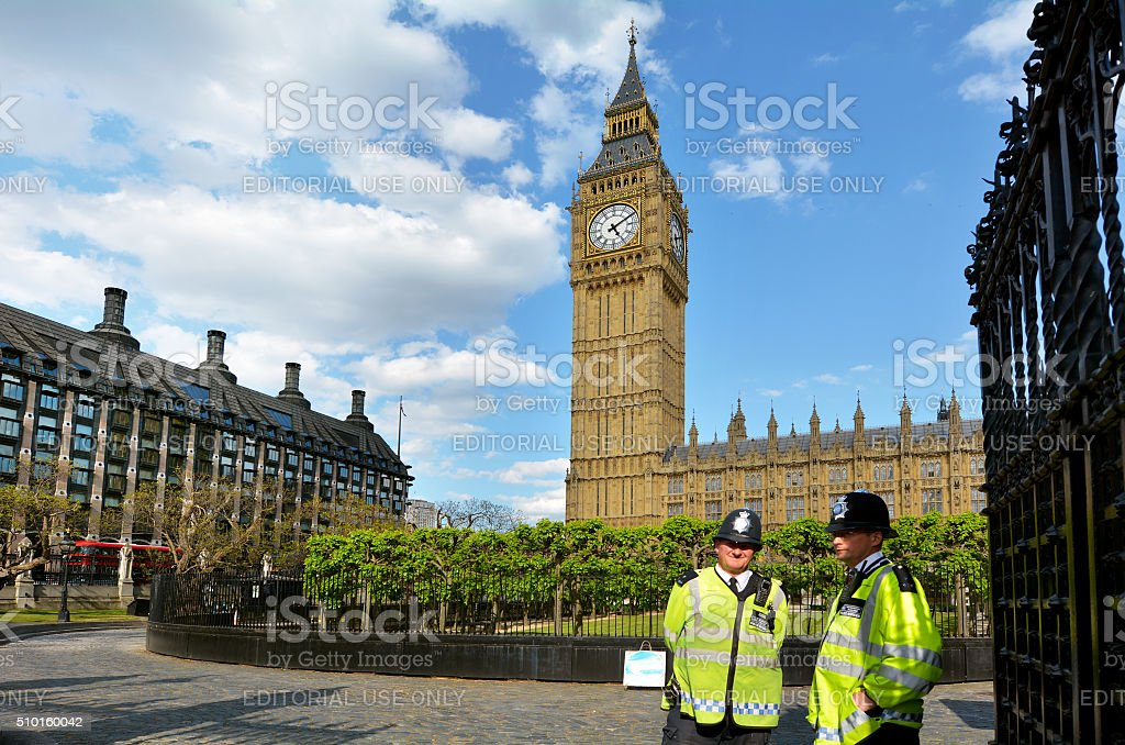 Police Service officers gurad the Big Ben, London stock photo