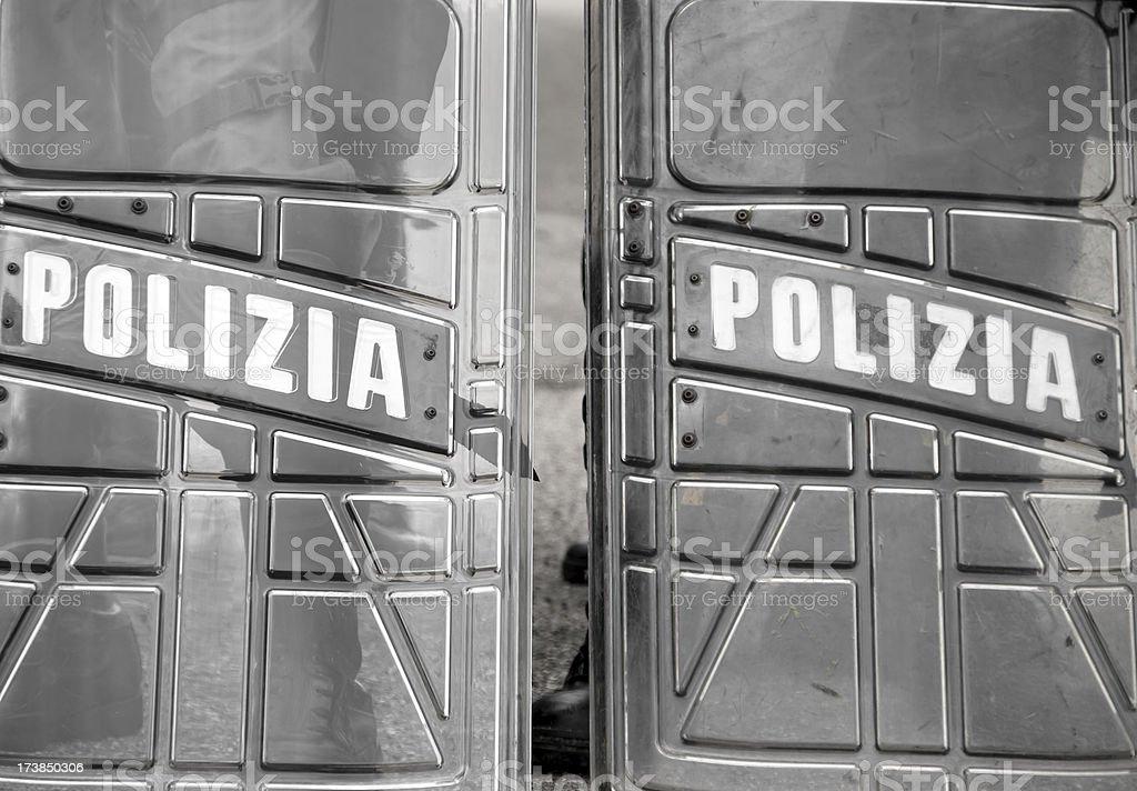 Police shields stock photo