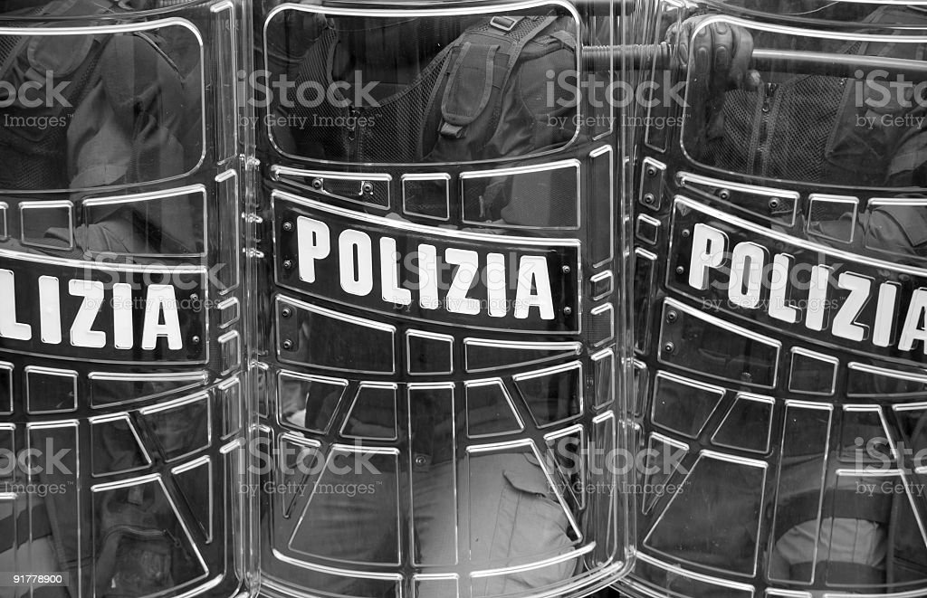Police Shields stock photo
