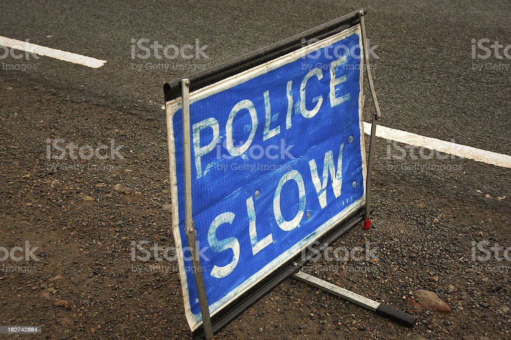 Police slow sign royalty-free stock photo